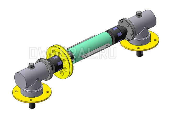 Угловые редуктора и вал снхронизации  Газонокосилки    3д модель