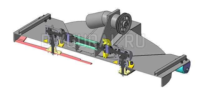 Газонокосилка садового трактора. Привод от гидромотора.   3д модель   разрез
