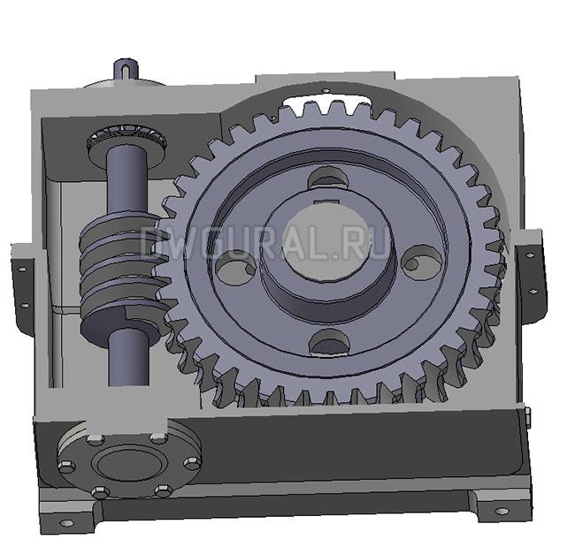 Червячный редуктор сварной корпус.   3д модель   Вид в разрезе