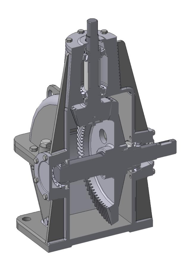 Редуктор с конической передачей верикальный вал.  3д модель.  Вид в разрезе