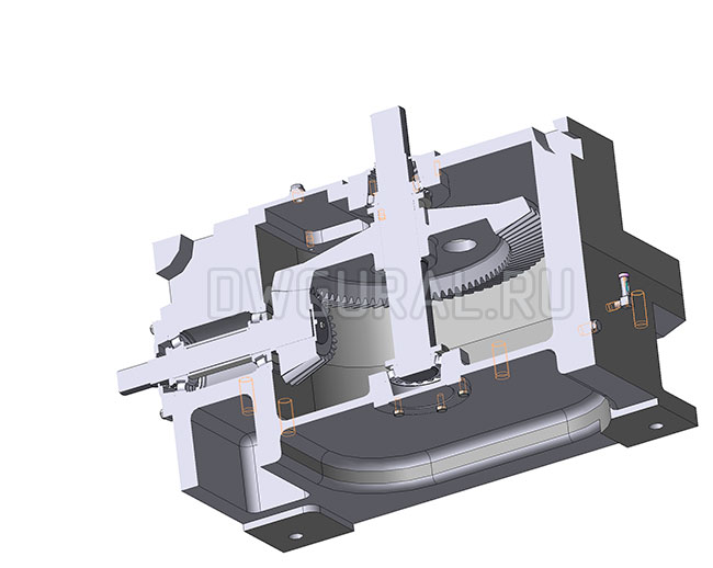 Редуктор коническая передача вал тихоходный  вертикальный, горизонтальный  вал быстроходный.   3д модель   Вид в разрезе