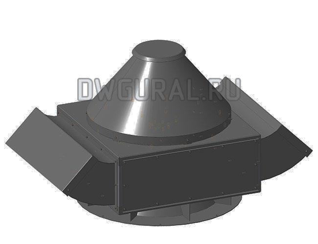 Сборочный чертеж  Крышный вентилятор В-71 3д модель общий вид