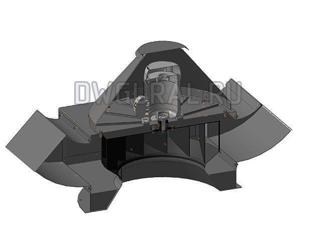 Сборочный чертеж  Крышный вентилятор В-71  Вид в разрезе.
