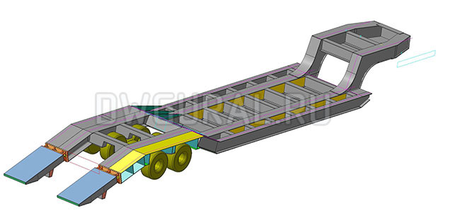 3D модель Низко рамный прицеп грузоподъемность 90 т