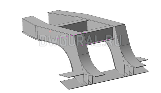 седло низко рамного прицепа грузоподъемность 90 т.  3D модель вид с зади.