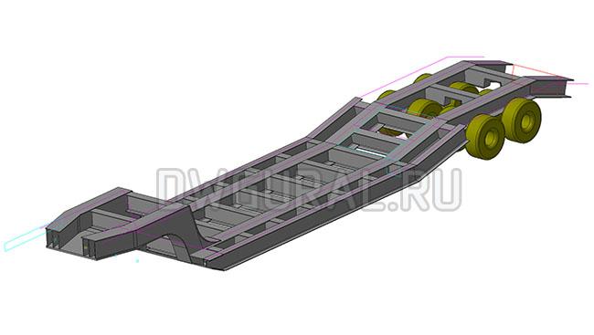 3D модель рамы Низко рамного прицеп а