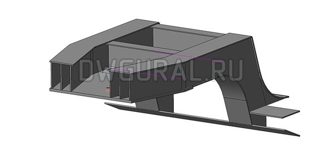седло низко рамного прицепа грузоподъемность 90 т.  3D модель вид с переди.