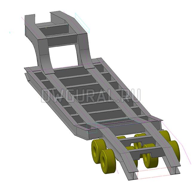 3D модель рамы  Низко рамного прицепа грузоподъемность 90 т