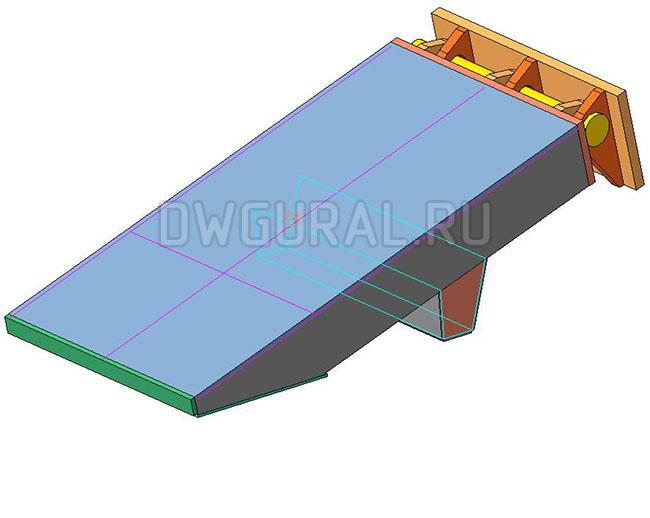 Аппарель, низкорамного прицепа грузоподъемность 90 т.  3D модель