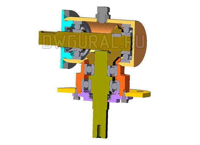 3д модель редуктора с конической передачей.  Вид в разрезе.