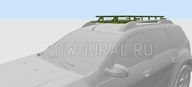 Экспедиционный багажник на Daster  3D модель  вид с роста водитля  Кронштейны крепления багажника  не показаны.