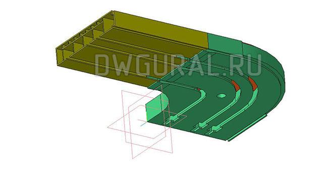 чертежи пластиковых деталей Пластиковый карниз для штор  3D модель  изометрия.