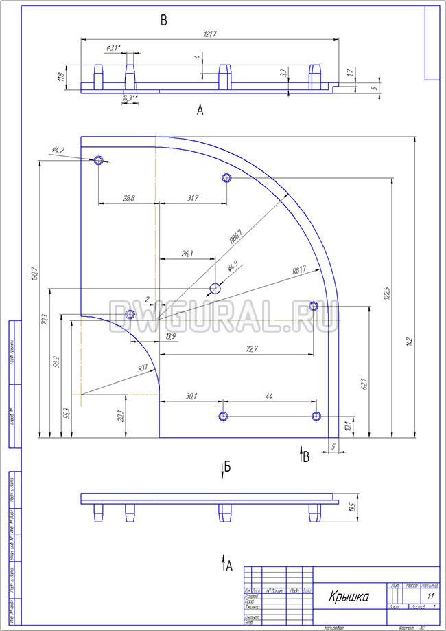 чертежи пластиковых деталей Чертеж крышки поворота  для штор выполнен с 3D модели.