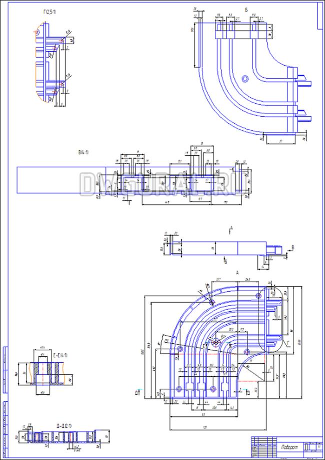 чертежи пластиковых деталей  чертеж пластикового поворота для штор  выполнен с 3D модели