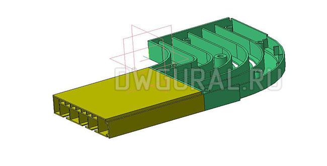 чертежи пластиковых деталей Пластиковый карниз для штор  3D модель  вид спереди  крышка поворота снята.