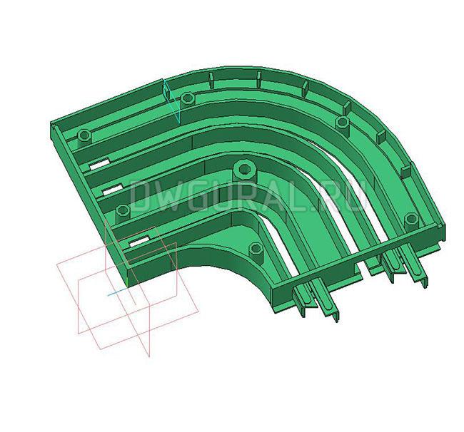 чертежи пластиковых деталей Пластиковый поворот для штор  3D модель  вид спереди  крышка поворота снята.