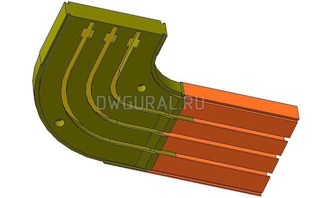 чертежи пластиковых деталей Пластиковый карниз для штор 2х сторонний 3D модель  изометрия.
