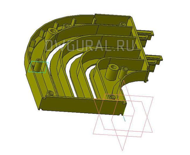 чертежи пластиковых деталей Пластиковый поворот для штор 2х сторонний  3D модель  вид спереди  крышка поворота снята