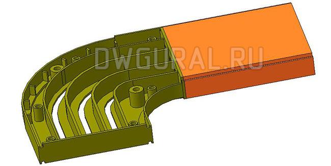 чертежи пластиковых деталей Пластиковый карниз для штор 2х сторонний  3D модель  вид спереди  крышка поворота снята.