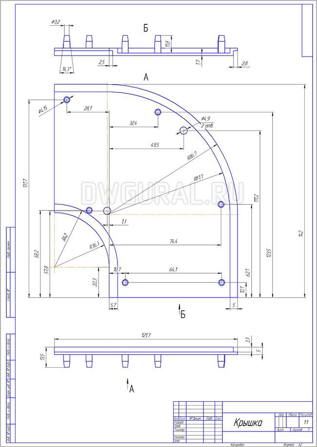 чертежи пластиковых деталей  Чертеж  Крыкшки 2х стороннего пластикового поворота для штор выполнен с 3D модели.
