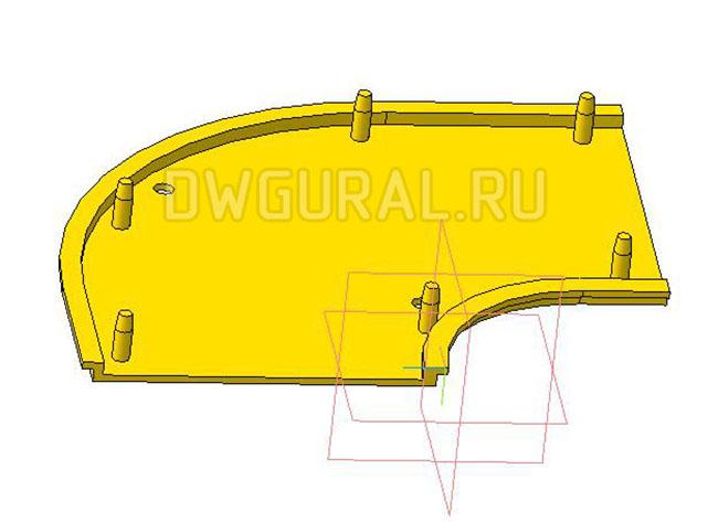 чертежи пластиковых деталей Крыкшка 2х стороннего пластикового поворота для штор  3D модель изометрия.