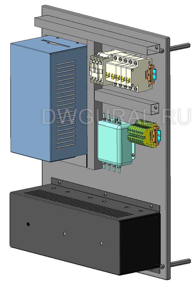 чертеж ящик электрошкафа  3д модель  монтажной плиты испытательного стенда.