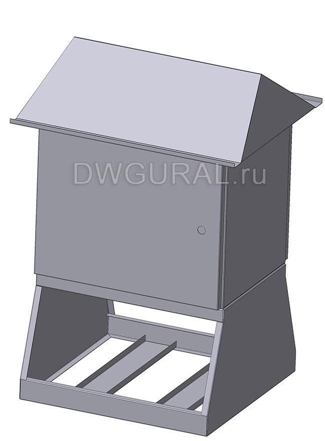 чертеж ящик электрошкафа  Щит уличный  900х450 3D модель. Вид с переди.