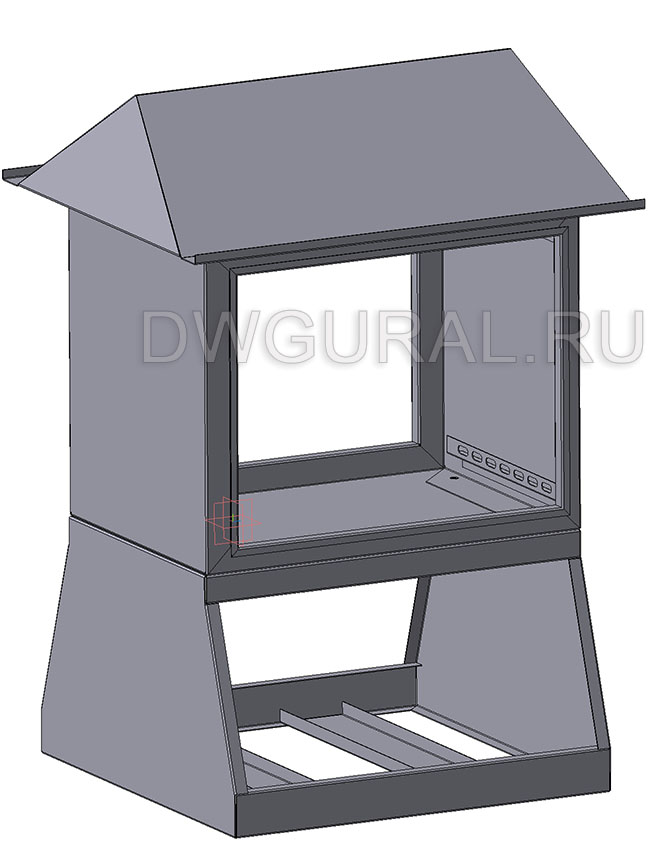 чертеж ящик электрошкафа  Щит уличный  900х450 3D модель. задняя стенка снята.