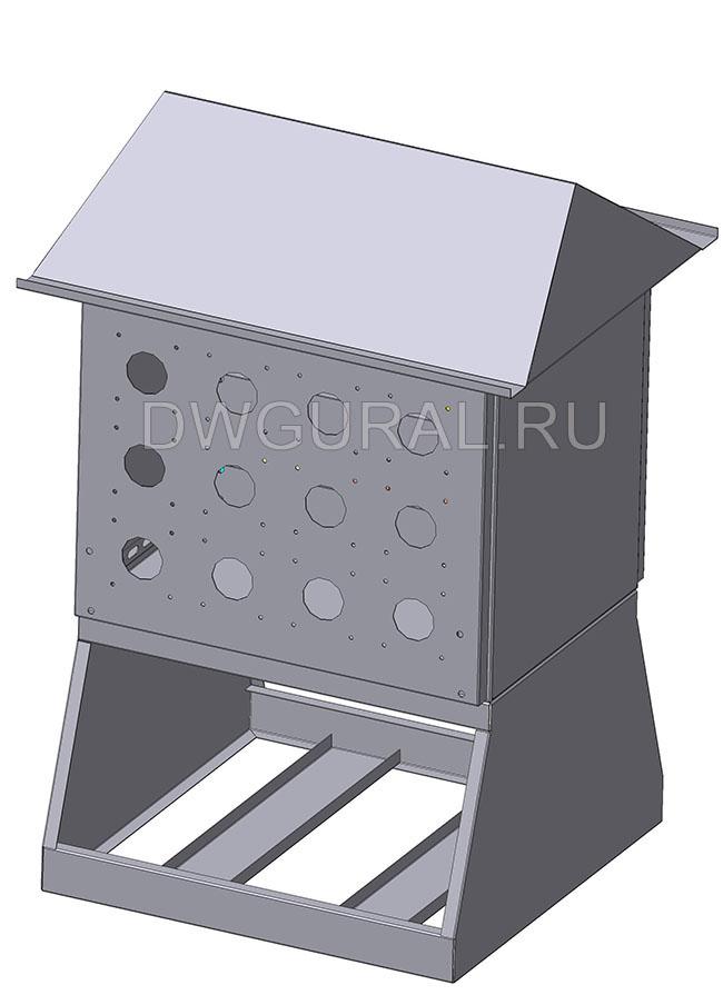 чертеж ящик электрошкафа  Щит уличный  900х450 3D модель. Вид с задней стенки.