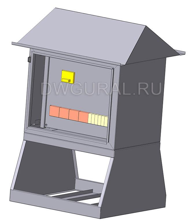чертеж ящик электрошкафа Щит уличный  900х450 3D модель. Вид с переди. Дверь условно не показана.