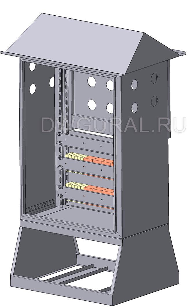 чертеж ящик электрошкафа  Щит уличный  800х400 3D модель. Вид спереди.  Дверь условно не показана.