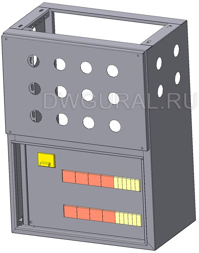 чертеж ящик электрошкафа  Корпус щита уличного  800х400 3D модель. Вид с задней стенки.