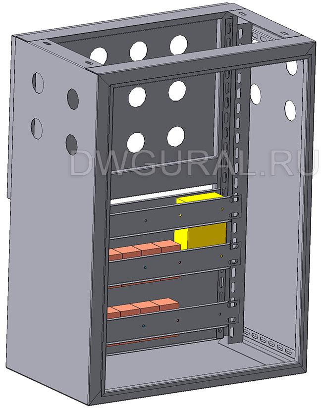 чертеж ящик электрошкафа  Корпус щита уличного  800х400 3D модель. Вид спереди.  Дверь условно не показана.