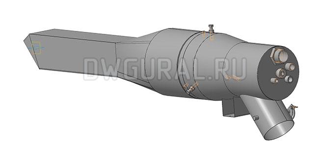 чертеж горелки 3Д  модель горелки вид с зади.