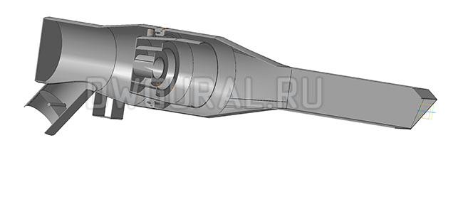 чертеж горелки 3Д  модель горелки  вид в разрезе.