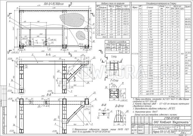 Разработка КМД. чертеж Площадки с опорой ПЛ-1