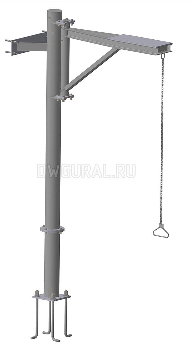 чертеж крана  Механизма выгрузки грузоподъемностью  400 кг 3 D модел