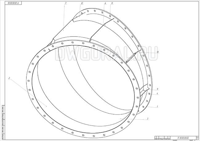 Изометрия металлоконструкции Отвод составной 30 градусов