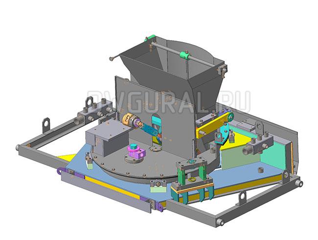 Чертежи нестандартного оборудования.  Загрузчик песка, 3D модель изометрия.