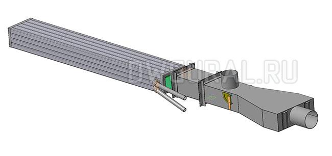 Чертежи нестандартного оборудования.  Загрузчик стеклобоя в печь. 3D модель изометрия.