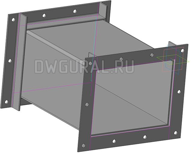 Чертежи нестандартного оборудования.  Короб промежуточный 3D модель изометрия.