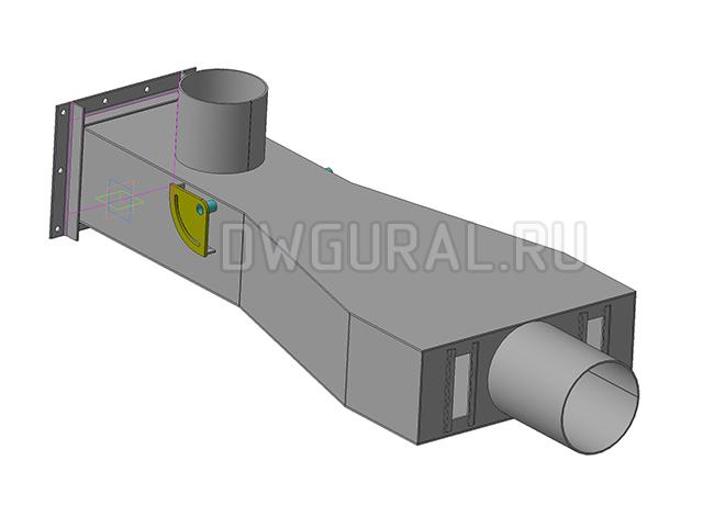 Чертежи нестандартного оборудования.  Короб загрузочный 3D модель изометрия.