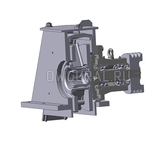 чертежи нестандартного оборудования. Турбина  дробемета очистки металла  3D модель  вид в разрезе.