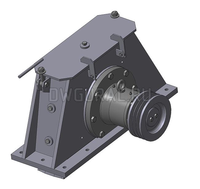 чертежи нестандартного оборудования Турбина  дробемета очистки металла  3D модель изометрия.