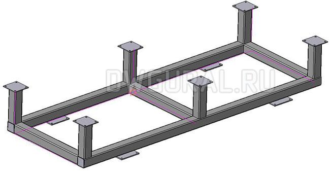 Стол-сборочно-сварочный Рама нижняя стола 3D модель.