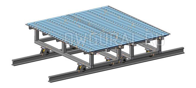 Стол-сборочно-сварочный   раздвижной на рельсах 3D модель.