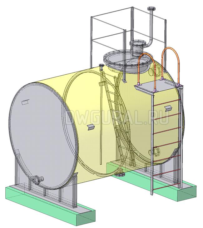 Чертежи резервуаров, баков, Емкостей.   Бак для хранения масла. 3D модель изометрия.