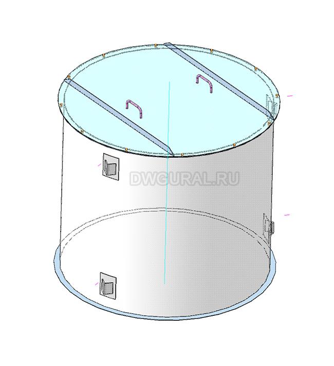 Чертежи резервуаров, баков, Емкостей.   3D модель Бак вертикальный V = 2,5
