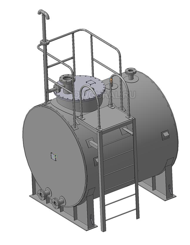 Чертежи резервуаров, баков, Емкостей.  3D модель Бак горизонтальный для воды РНГ-5