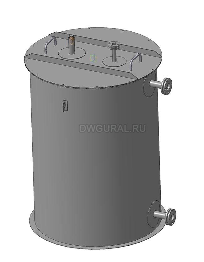 Чертежи резервуаров, баков, Емкостей.   3D модель Бак вертикальный РНВ-1